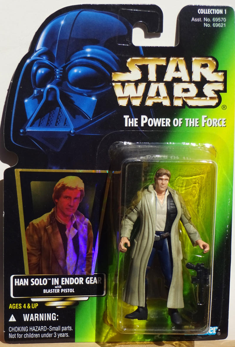 STAR WARS Power of the Force Action Figure, HAN SOLO Endor gear, w/ Pistol,1996
