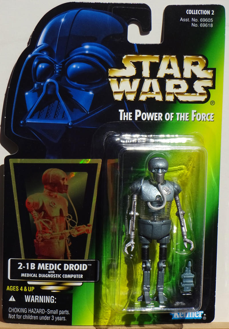 STAR WARS Power of the Force Action Figure, 2-1B MEDIC DROID, w/ med device,1996