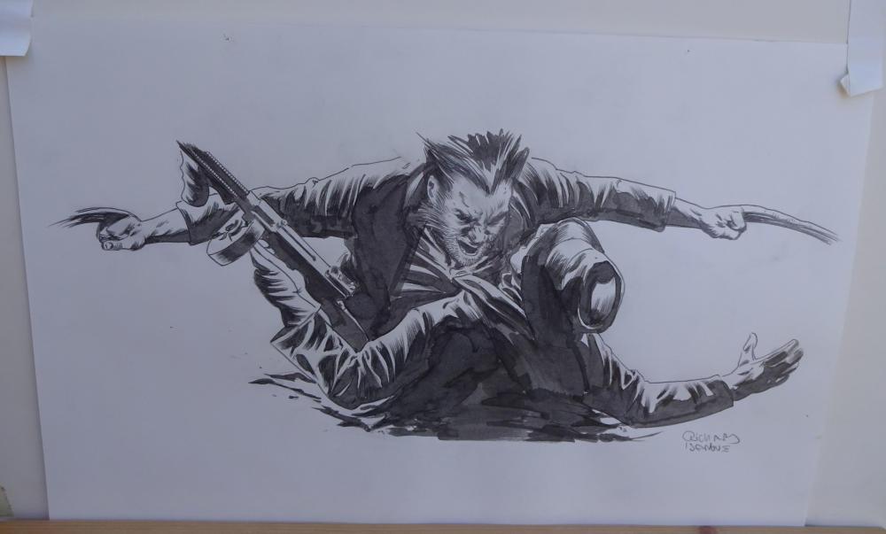 RICHARD ISANOVE original art, SAVAGE WOLVERINE #14, Signed, 11x17, Slicing