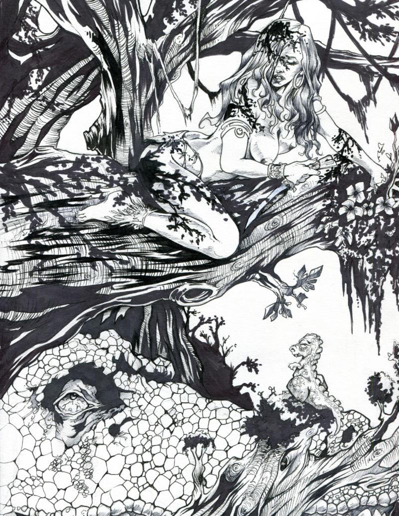 DAVE MILLER original published art, CAVE WOMAN, 9
