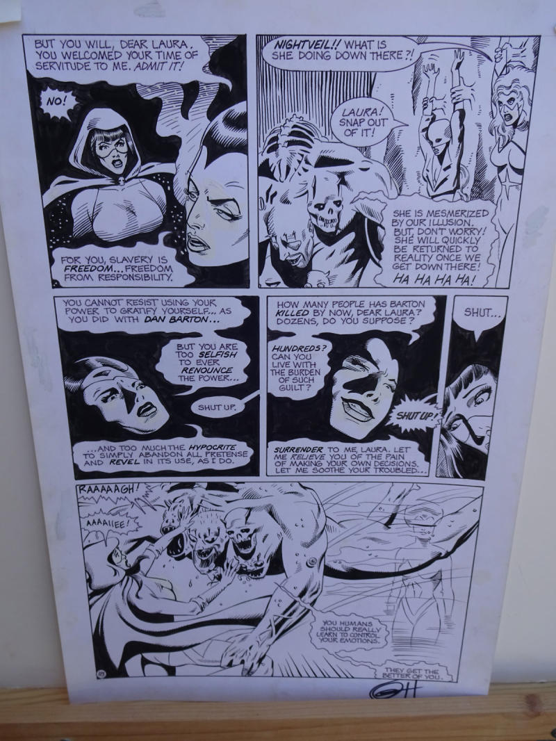 GREG HORN original art, FEMFORCE HOUSE OF HORROR #1 pg 18, Signed, Fight, 1989