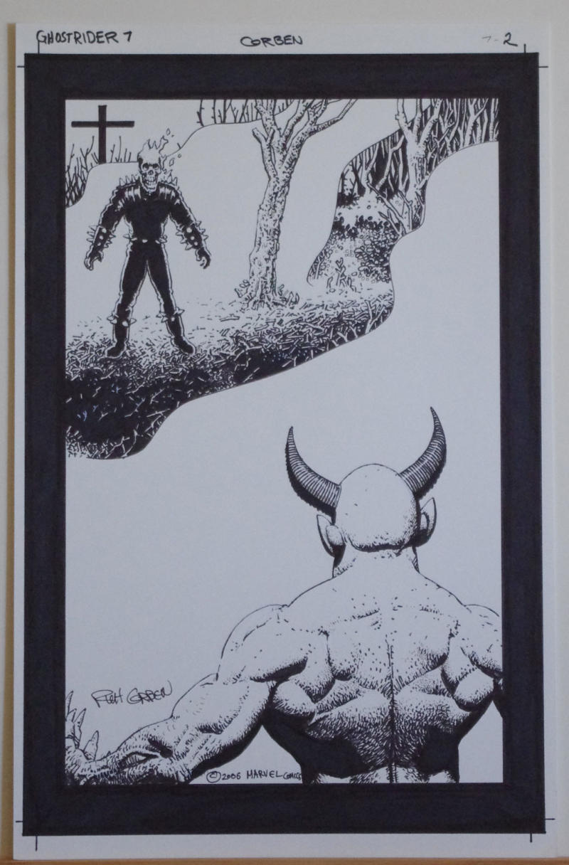 RICHARD CORBEN original art, GHOST RIDER #7 pg 2, Signed, vs SATAN, Hell to Pay