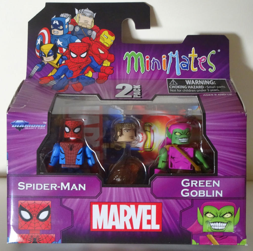 MARVEL MINIMATES - set with SPIDER-MAN and GREEN GOBLIN, pack, MIB, New, Sealed