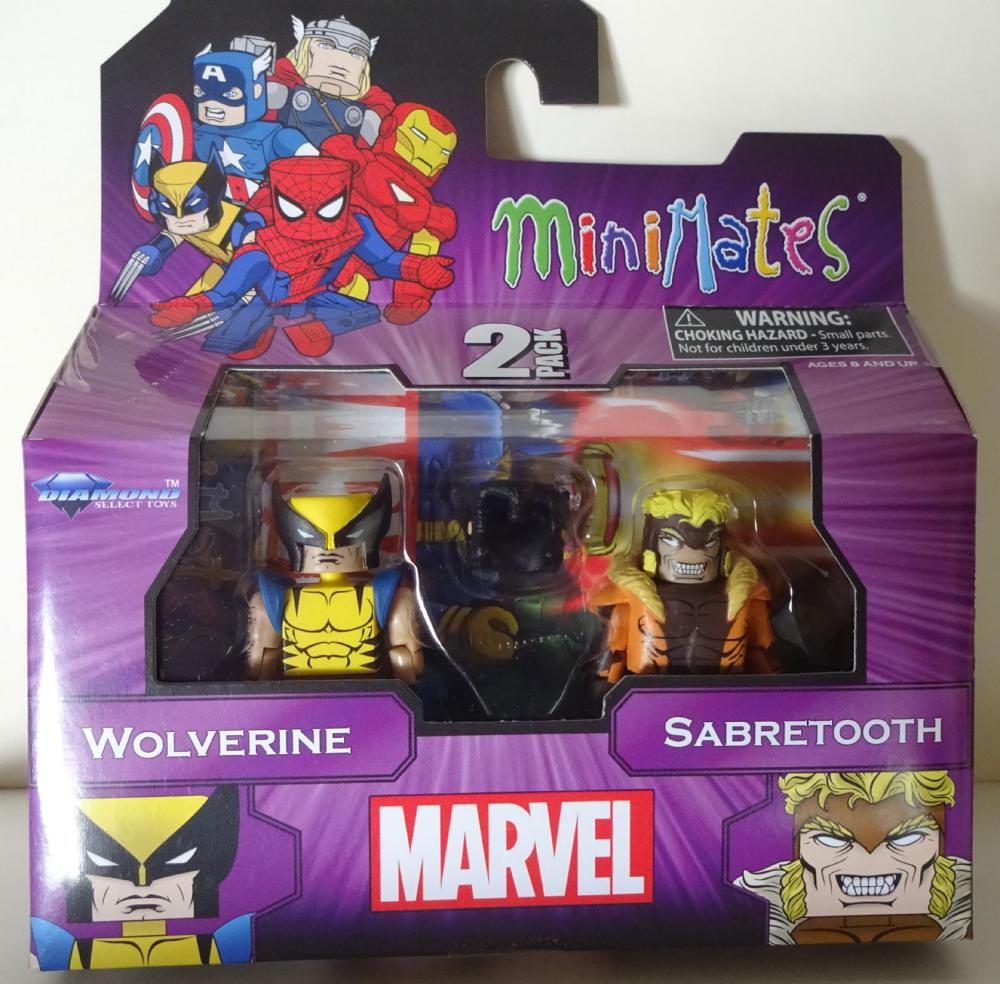 MARVEL MINIMATES - set with WOLVERINE and SABRETOOTH, pack, MIB, New, Sealed