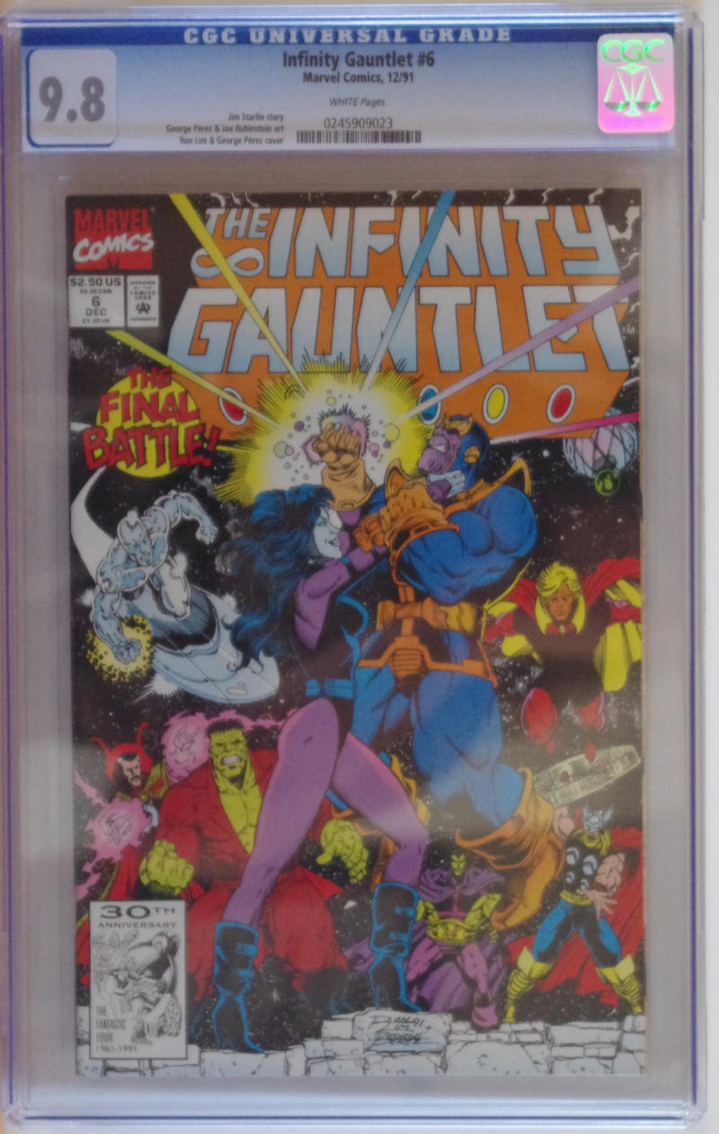 INFINITY GAUNTLET #6, CGC = 9.8, NM/M, Thanos, Avengers, 1991, more in store
