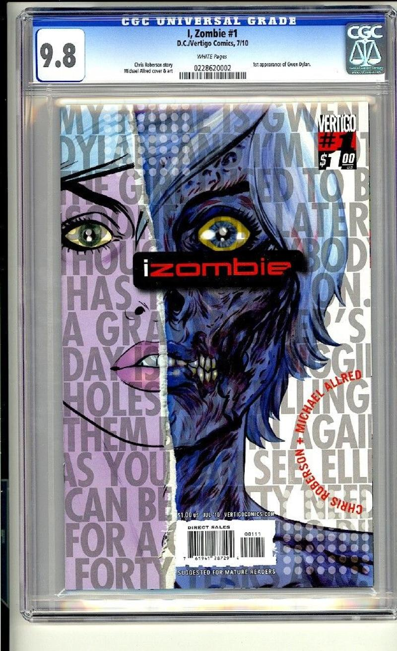 I ZOMBIE #1, CGC = 9.8, NM/M, 2010, Michael Allred,TV show,more Vertigo in store