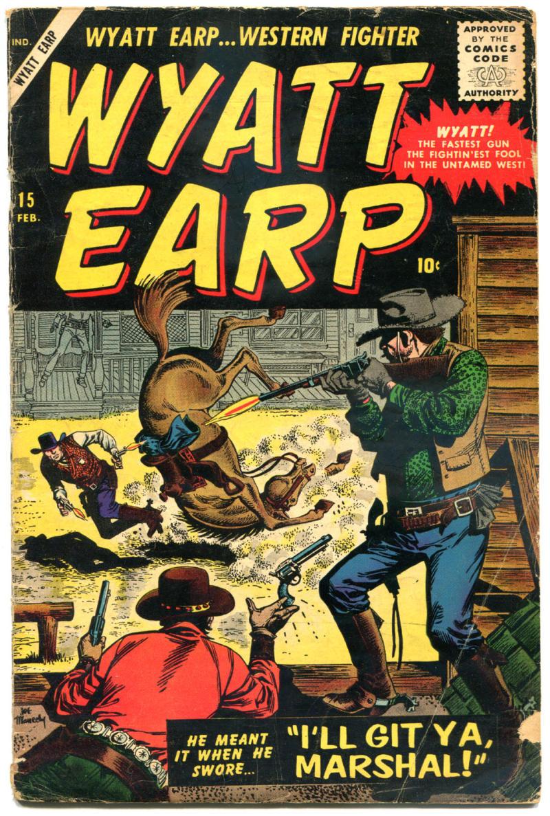 WYATT EARP #15, GD/VG, 1955, Golden Age, Western, Atlas, Frontier Marshal