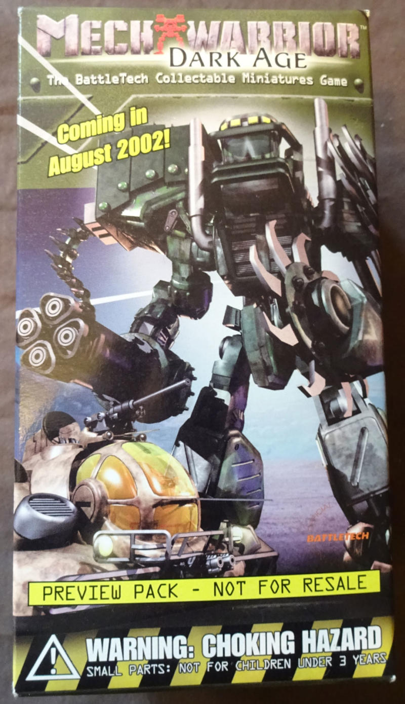 MECH WARRIOR - DARK AGE Preview Pack, BattleTech Collectable Miniatures Game,MIB