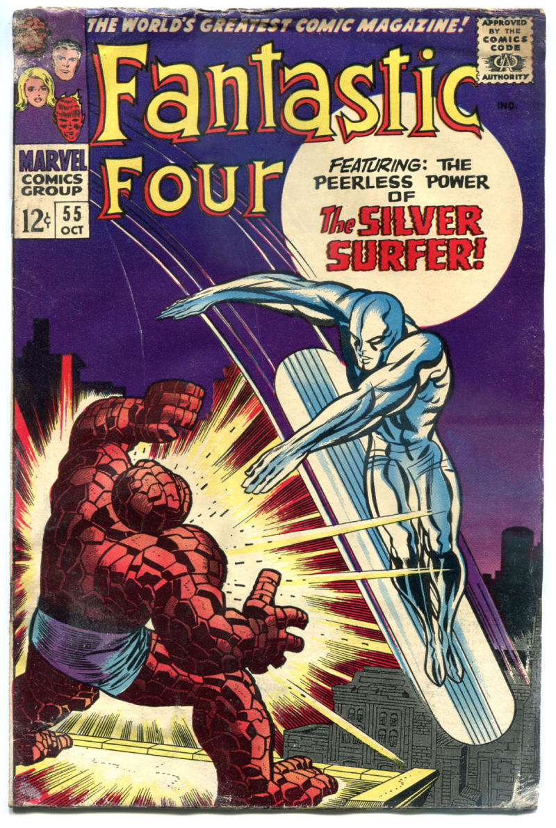 FANTASTIC FOUR #55, GD, Thing vs Silver Surfer, Jack Kirby, 1961, more in store