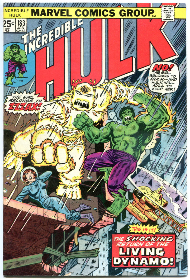 HULK #183, VF-, ZzzaX, Trimpe, Marvel, 1968, Incredible, more in store