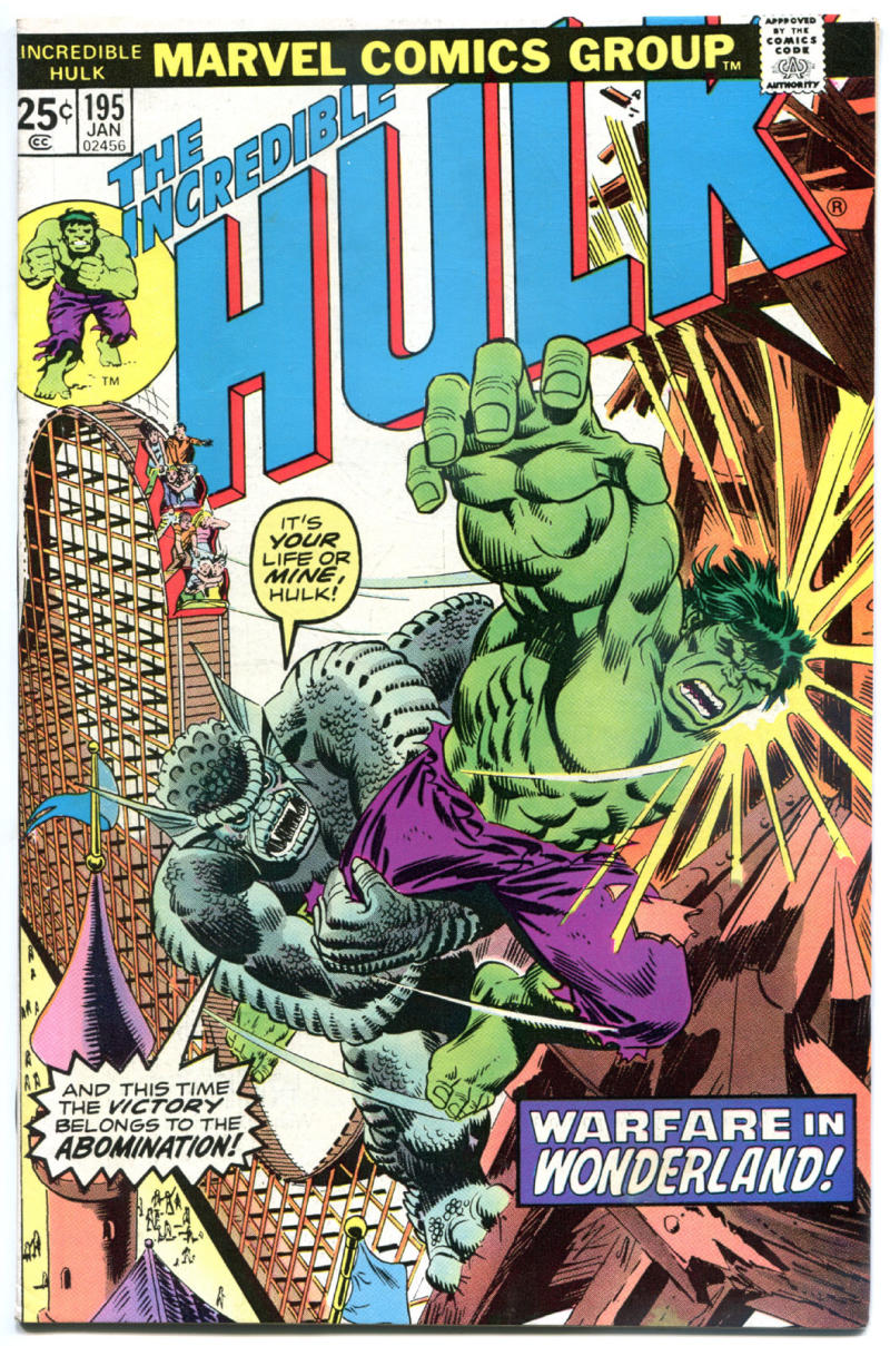 HULK #195, FN/VFN, Incredible, Bruce Banner, Abomination, 1968, more in store