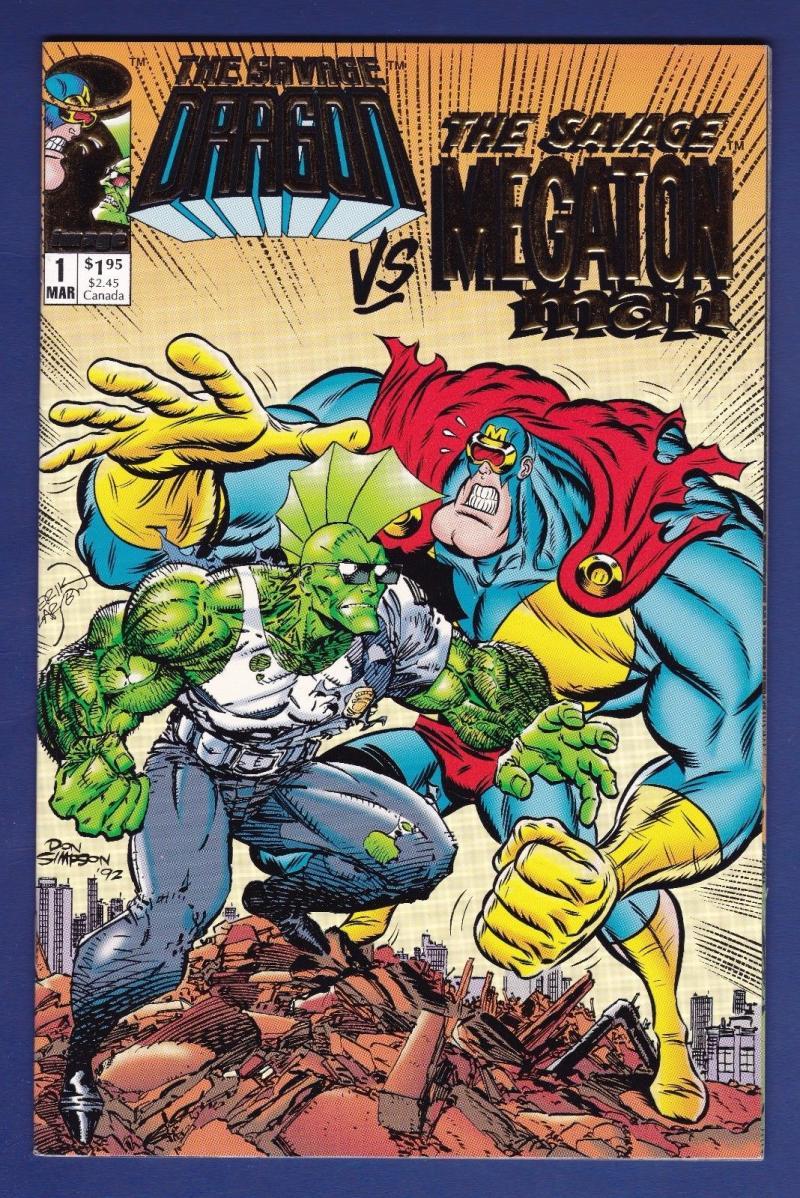 SAVAGE DRAGON VS MEGATON MAN #1, NM+, Gold Foil, Don Simpson, Image,1993