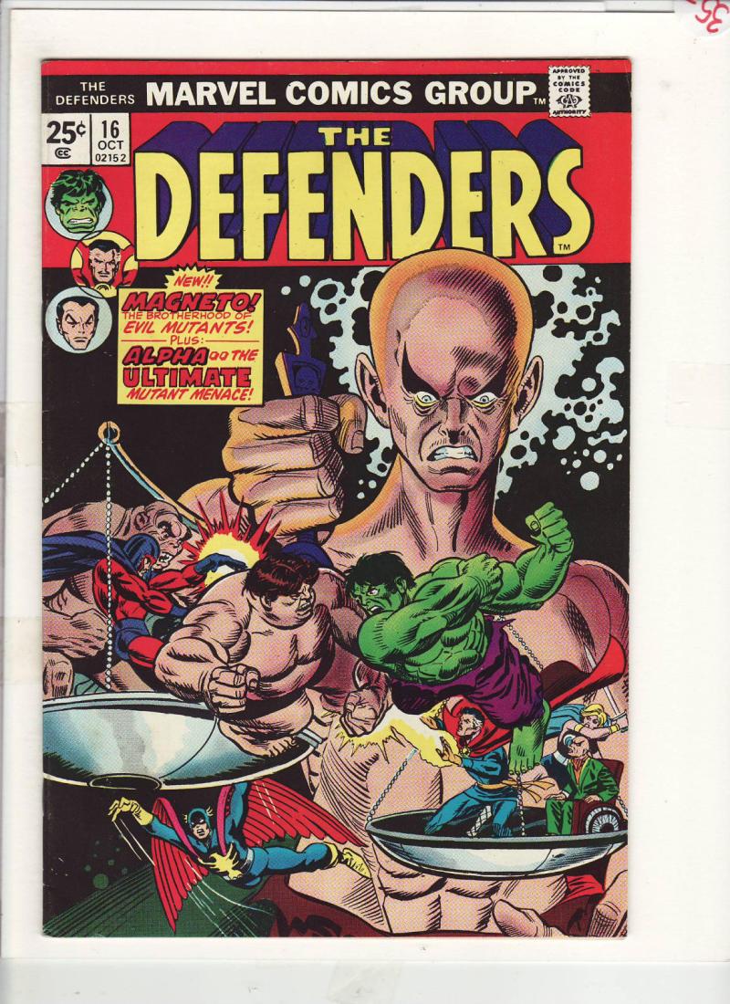 DEFENDERS #16, VF, Hulk, Dr Strange, Magneto, Evil Mutants, 1972 1974, Marvel