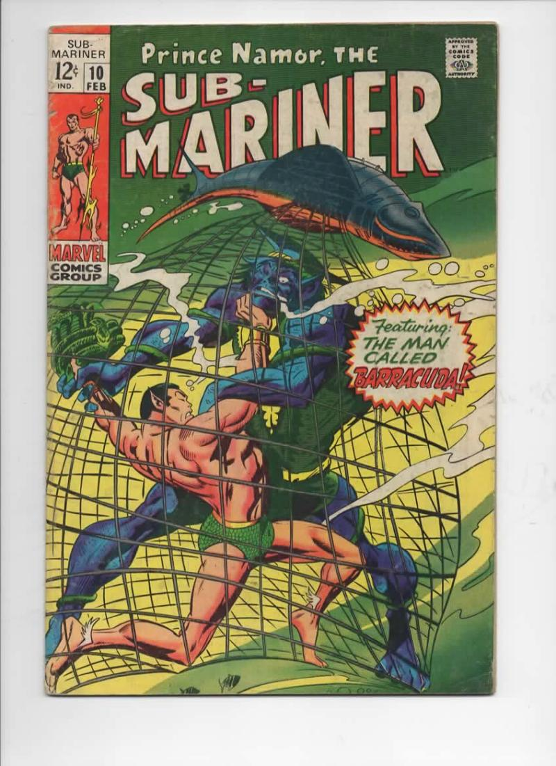 SUB-MARINER #10, VG+, Barracuda, Gene Colan,1968 1969, more Marvel in store