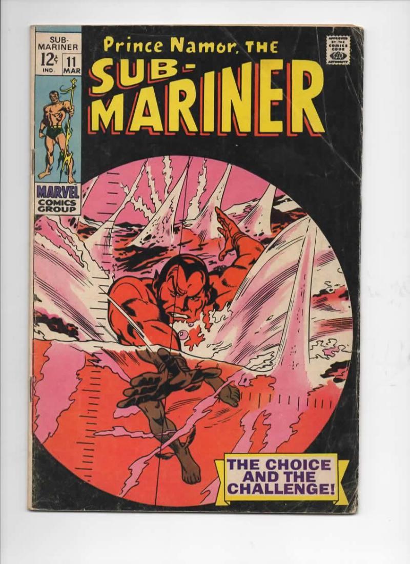 SUB-MARINER #11, VG, Gene Colan, 1969, Alantis, Torpedo, more in store
