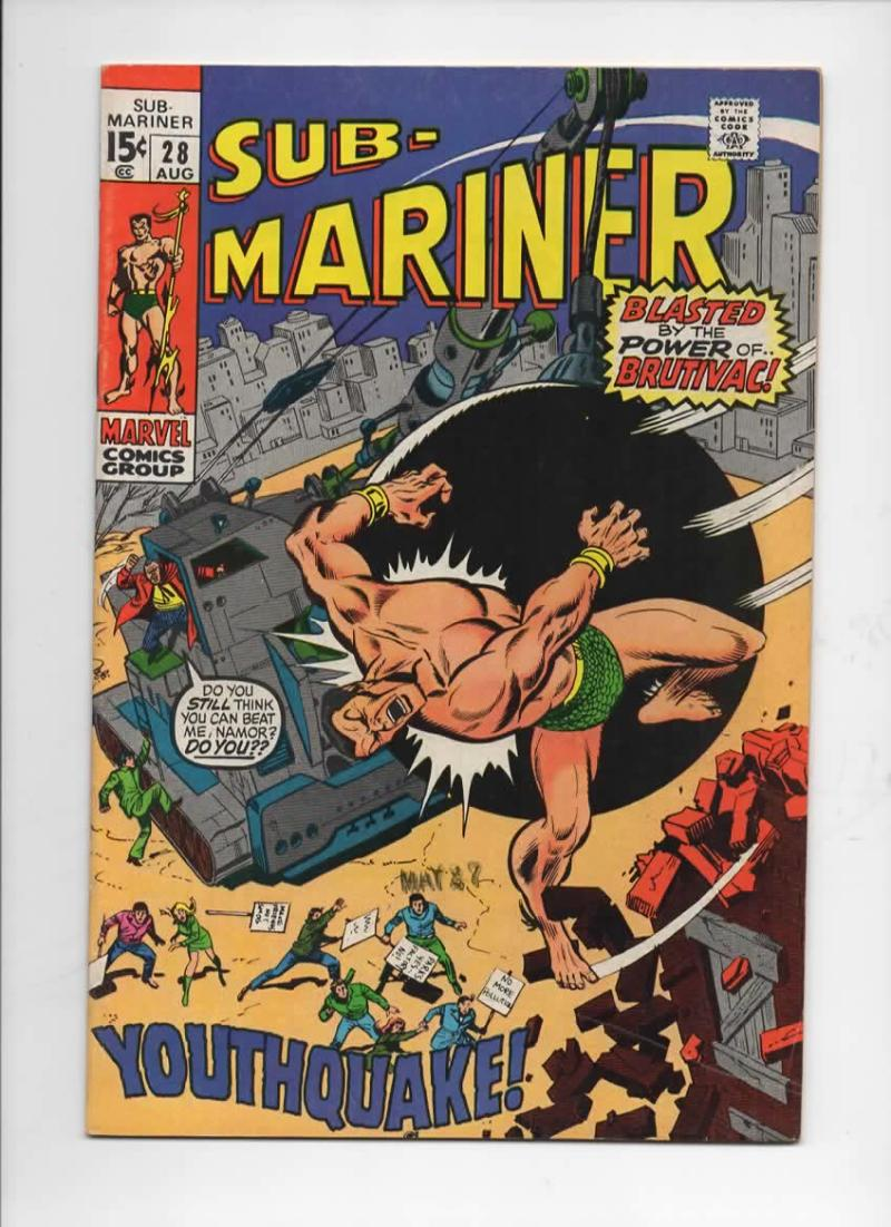 SUB-MARINER #28, FN+, Buscema, Brutivac, Youth Quake, 1968 1970, more in store