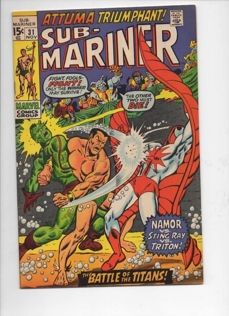 SUB-MARINER #31, VF, Buscema, Sting Ray, Triton, Attuma, 1968 1970, more in store