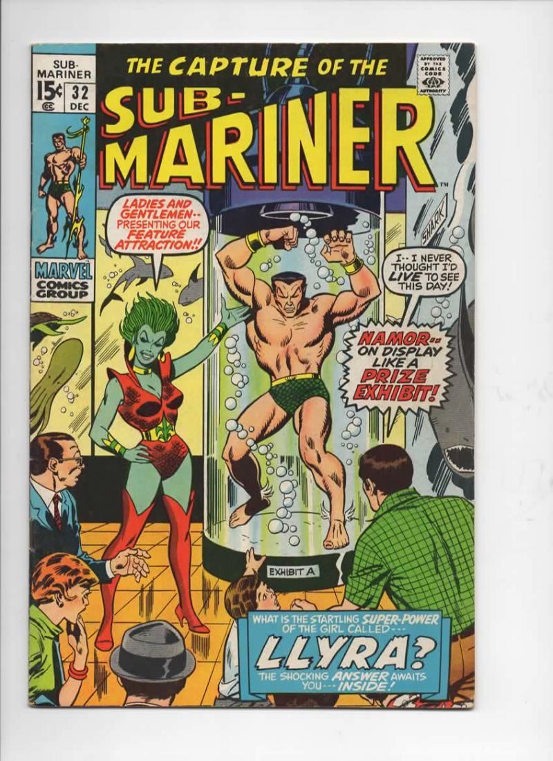 SUB-MARINER #32, VF, Buscema, LLYRA, Marvel, 1968 1970, more in store