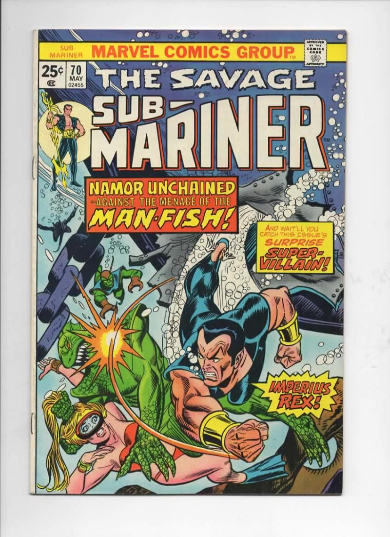 SUB-MARINER #70, VF+, Tuska, Imperius Rex, Man-Fish, Marvel, 1968 1974, more in store