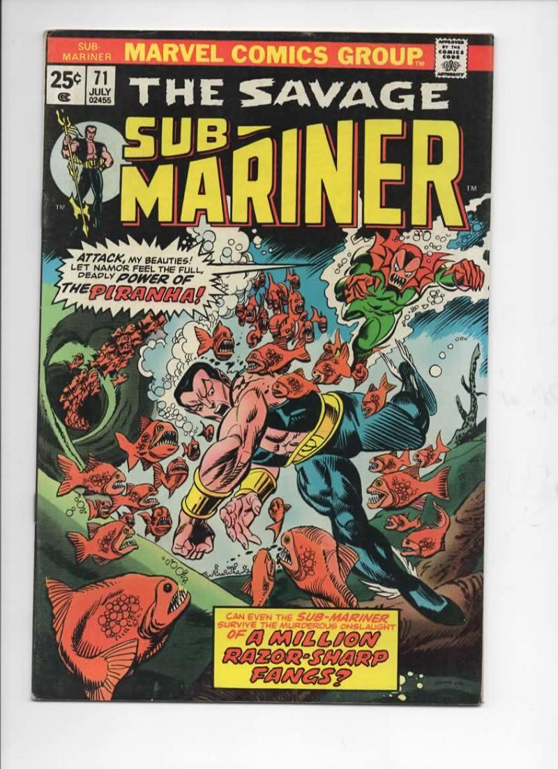 SUB-MARINER #71, VF+, Tuska, Piranha, razor fangs, Marvel, 1968 1974, more in store