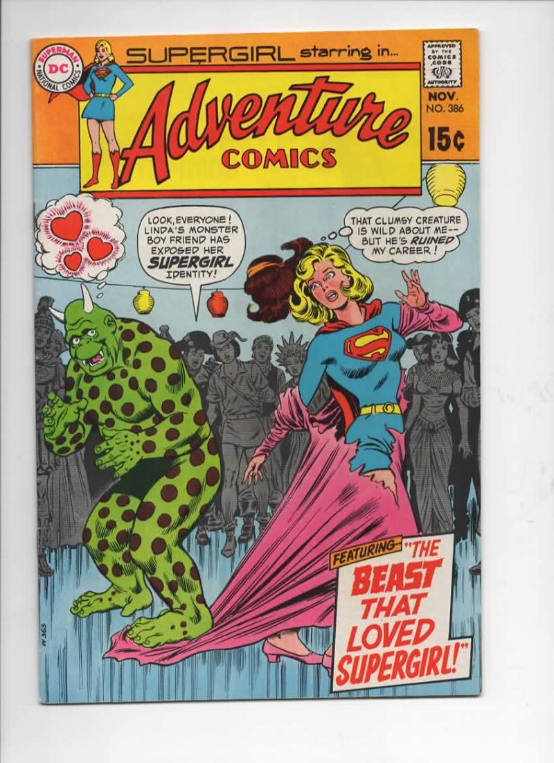 ADVENTURE COMICS #386, VF+, SuperGirl, Beast Love, 1938 1969, more DC and SG in store