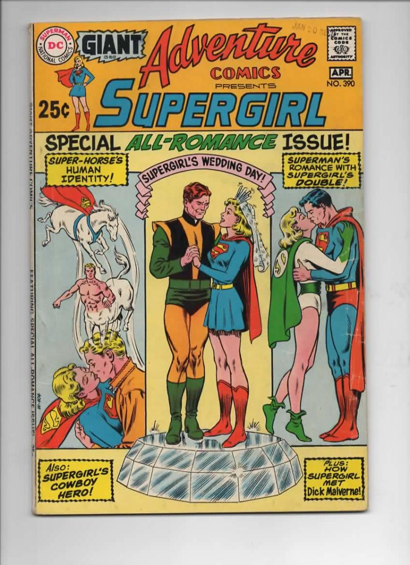 ADVENTURE COMICS #390, VG/FN, SuperGirl, Wedding, Romance, 1938 1970, more in store