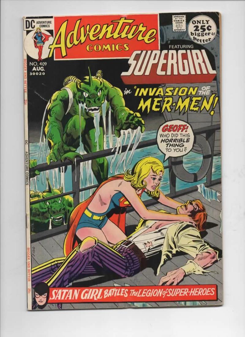 ADVENTURE COMICS #409, FN, SuperGirl, Satan Girl, Mer-Men, 1938 1971, more in store