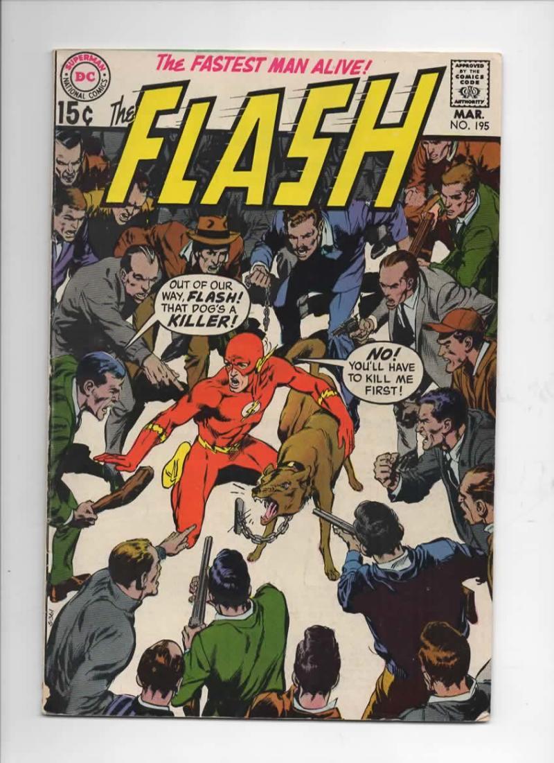 FLASH #195,  FN+, Killer Dog, Neal Adams, Gil Kane, 1970, more in store, DC