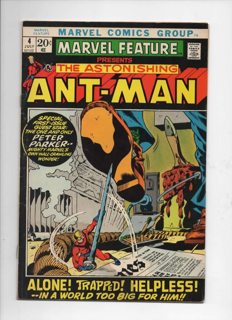 MARVEL FEATURE #4, VG+, Ant-Man, Origin, Spider-man, 1971, more in store