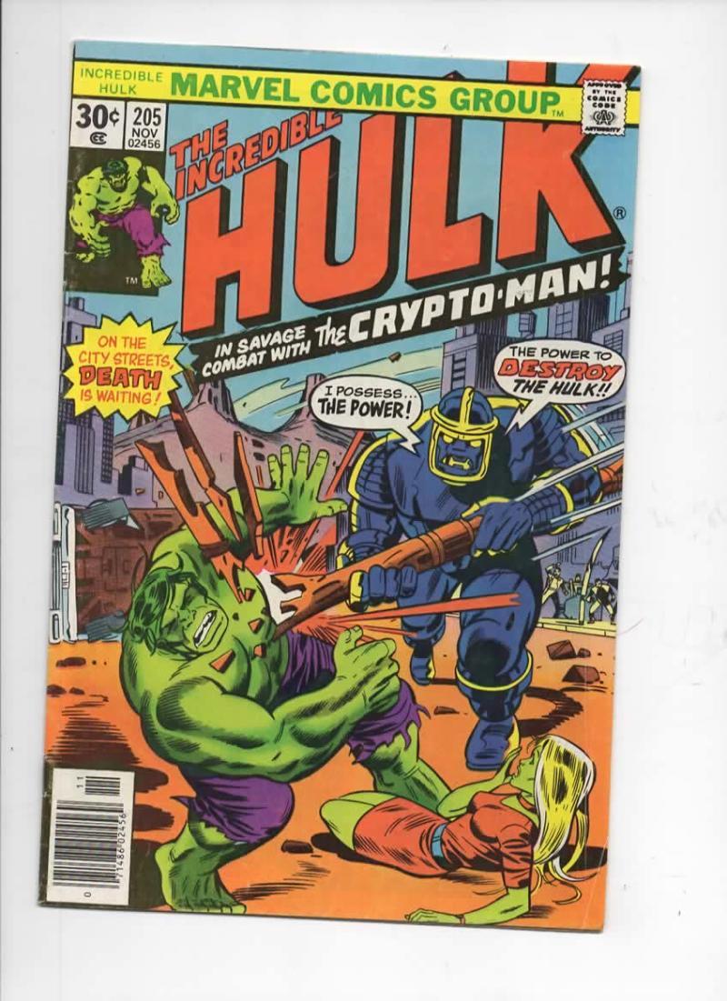 HULK #205, FN, Incredible, Bruce Banner, Crypto-Man, 1968 1976, Marvel