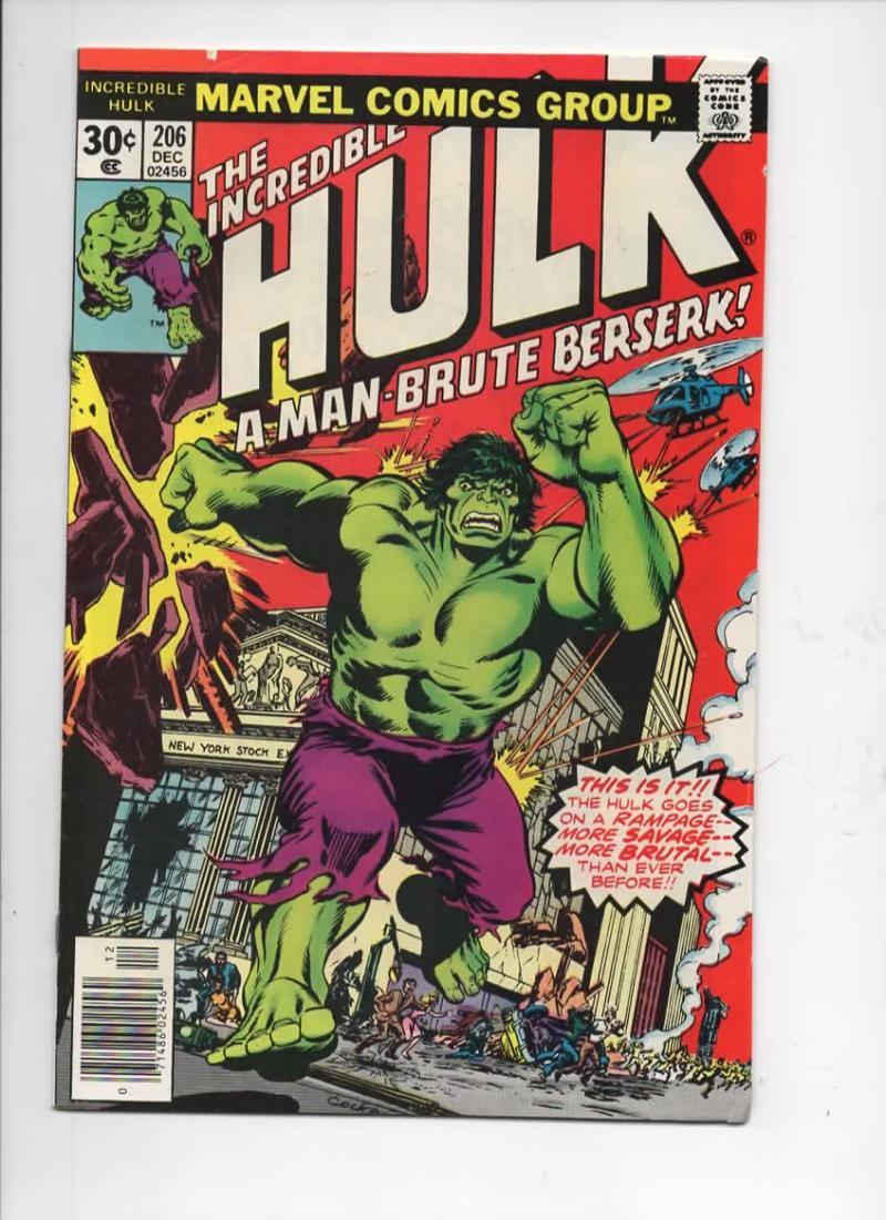 HULK #206, VG/FN, Incredible, Bruce Banner, Berserk, 1968 1976, Marvel