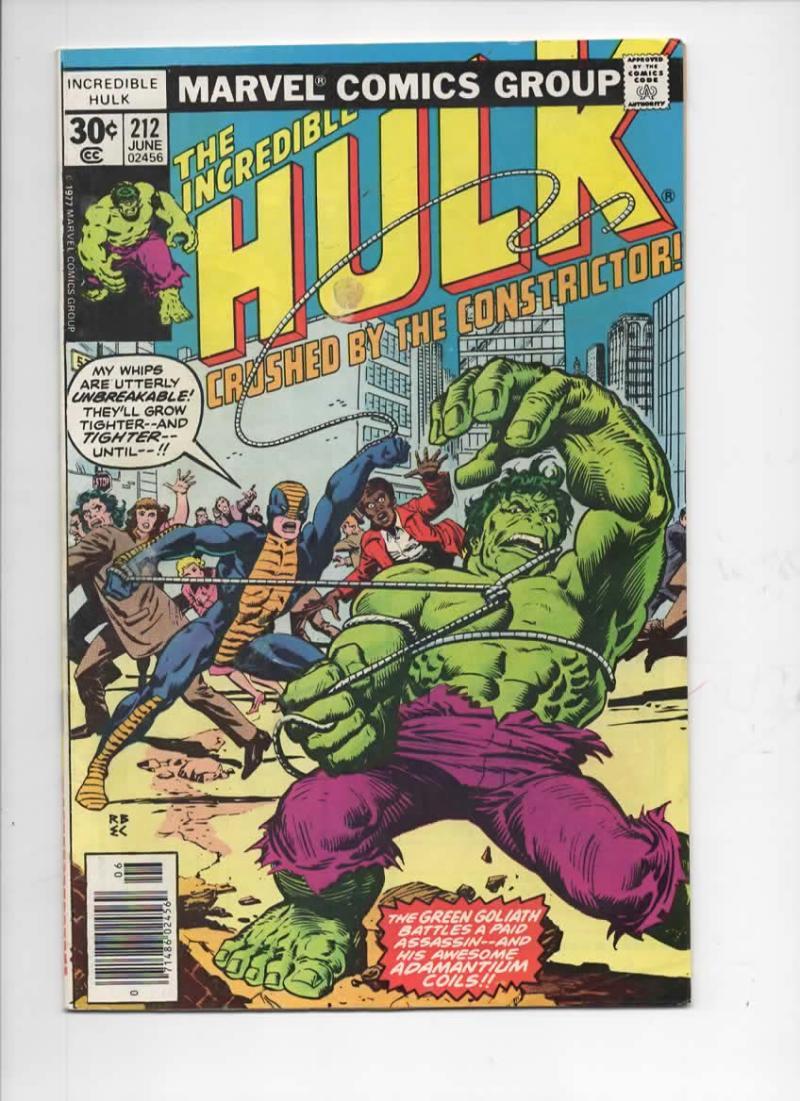 HULK #212, FN+, Incredible, Bruce Banner, Constrictor, 1968 1977, Marvel