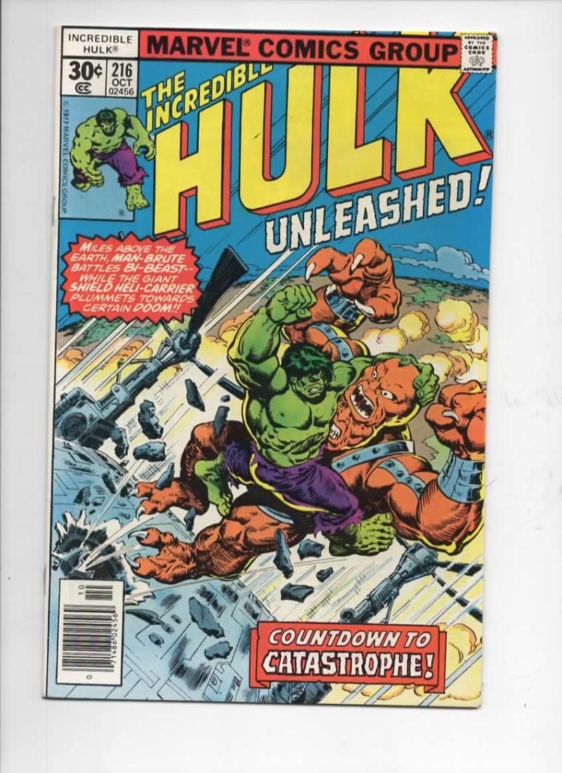 HULK #216, VF+, Incredible, Bruce Banner, Bi Beast, 1968 1977, Marvel