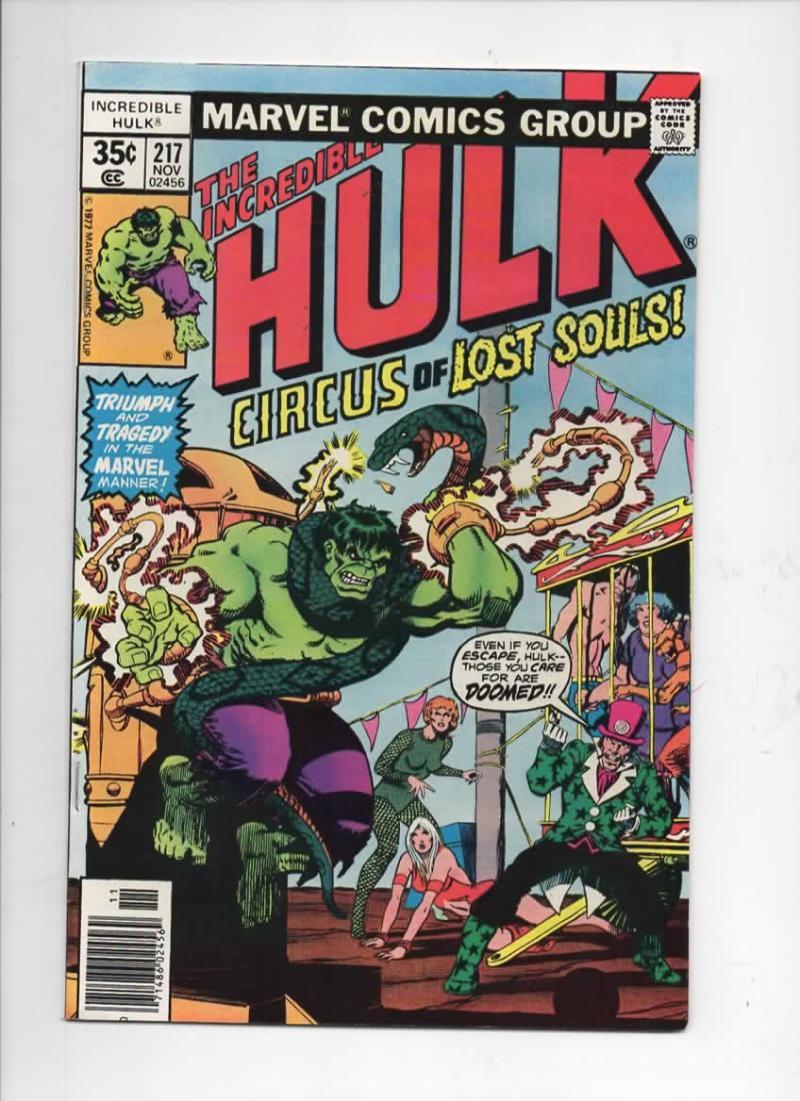 HULK #217, VF+, Incredible, Bruce Banner, Circus, 1968 1977, Marvel
