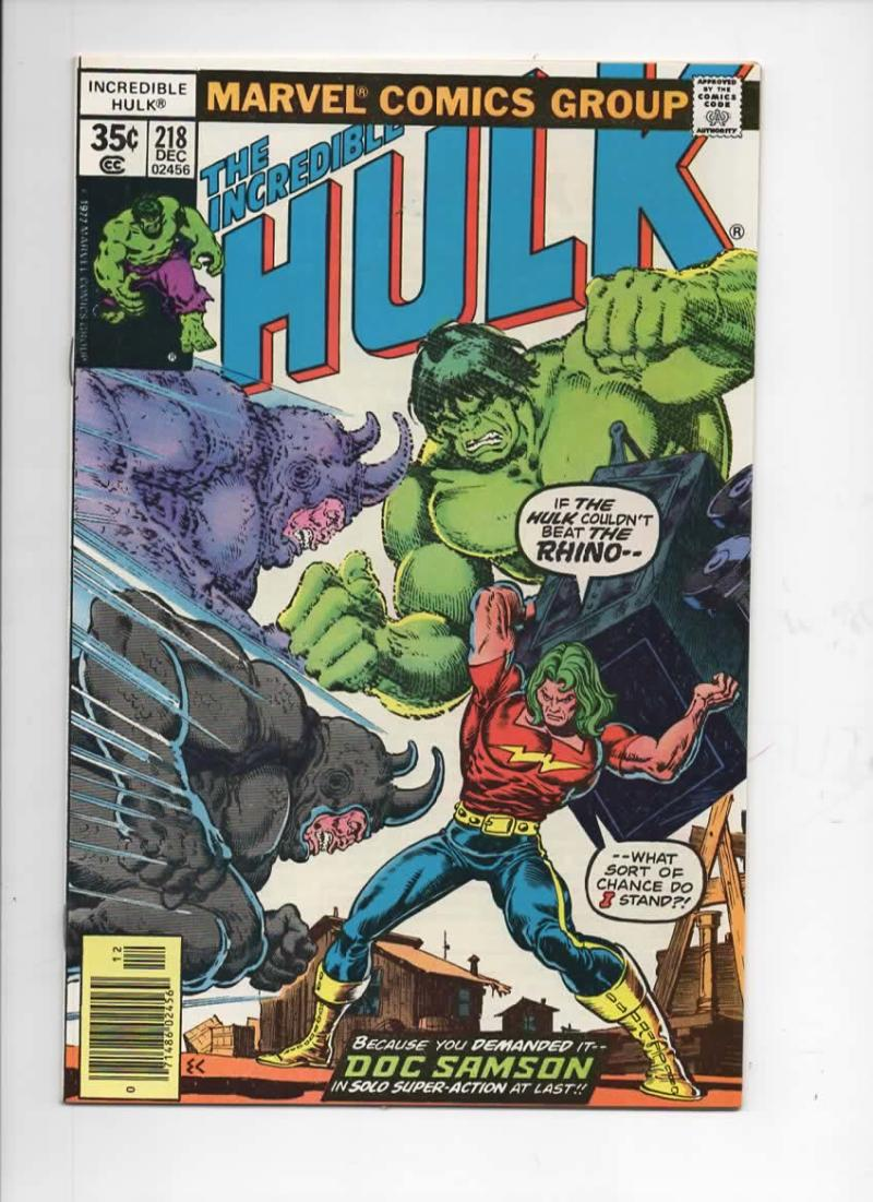 HULK #218, NM-, Incredible, Bruce Banner, Rhino, 1968 1977, Marvel