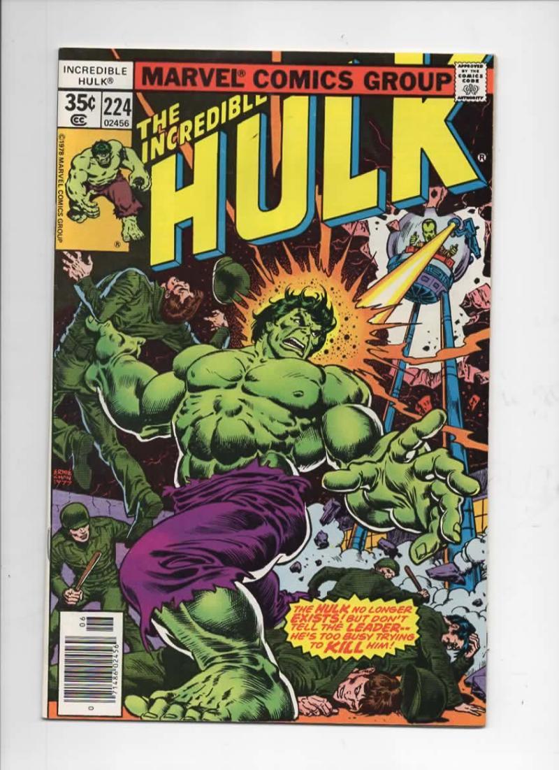 HULK #224, VF, Incredible, Bruce Banner, Leader, 1968 1978, Marvel