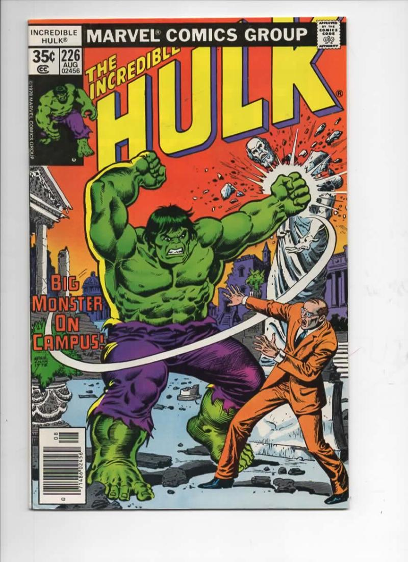 HULK #226, VF+, Incredible, Bruce Banner, Campus Monster, 1968 1978, Marvel