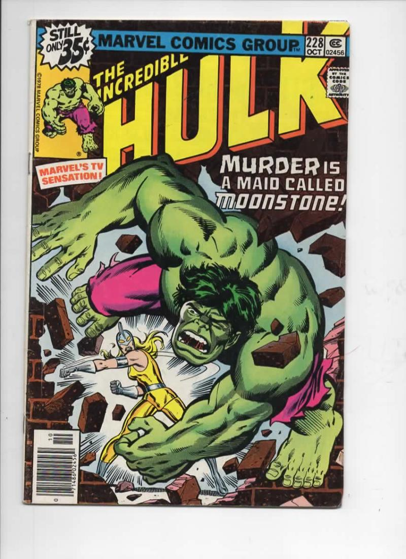 HULK #228, VG+, Incredible, Bruce Banner, MoonStone, 1968 1978, Marvel