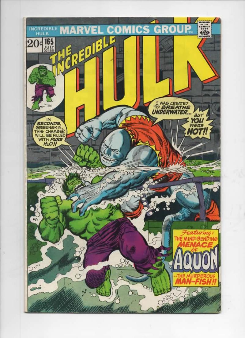 HULK #165, FN, 1st Aquon, Trimpe, Marvel, 1968 1973, Incredible, more in store