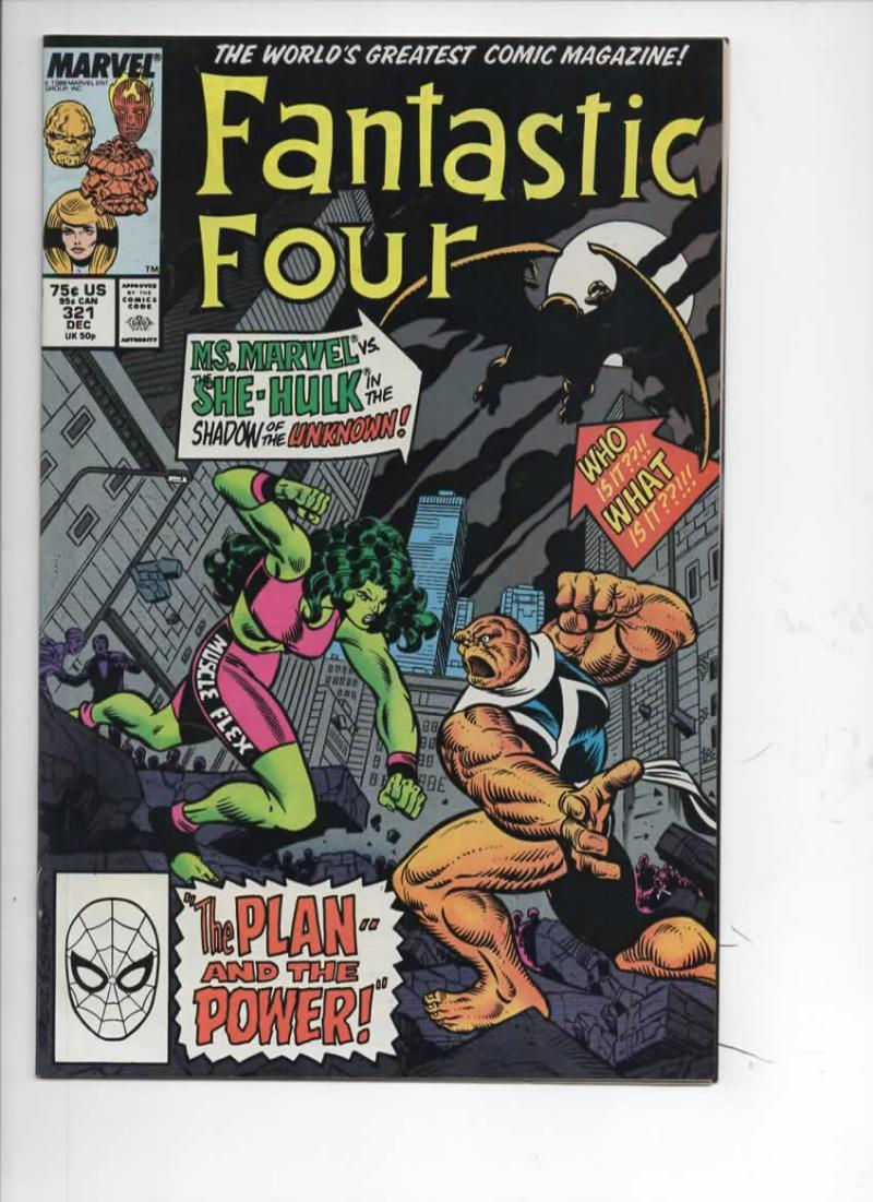 FANTASTIC FOUR #321 VF+ Ms Marvel vs She Hulk, 1961 1988 Marvel, more FF in store