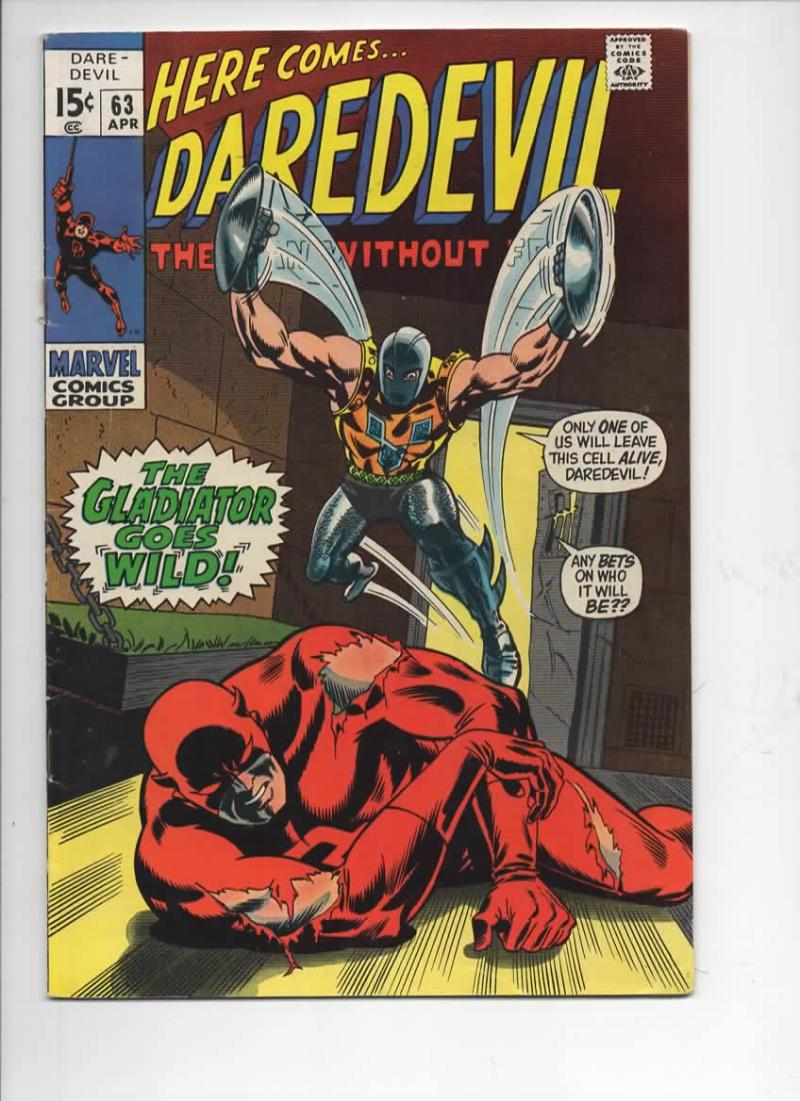 DAREDEVIL #63 FN, Gene Colan, Murdock, Gladiator, 1964 1970, more Marvel in store