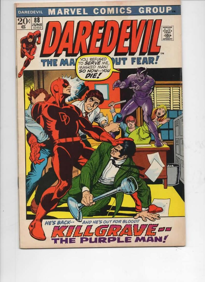 DAREDEVIL #88 FN, Gene Colan, Murdock, Purple Man, 1964 1972, more Marvel in store