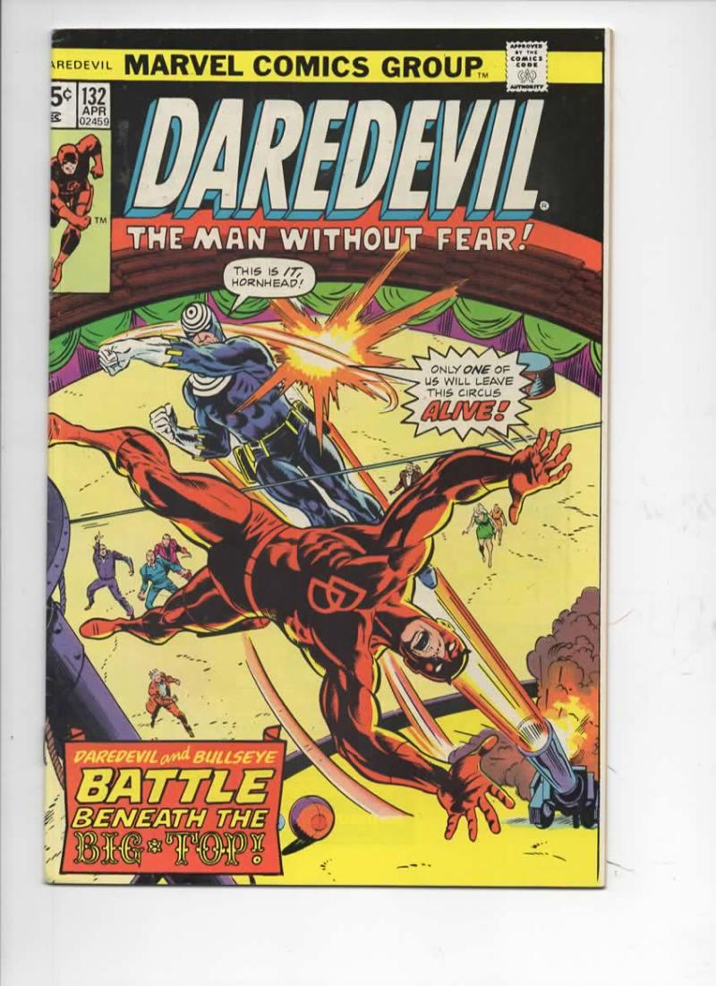 DAREDEVIL #132 FN+ Murdock, BullsEye, 1964 1976, more Marvel in store