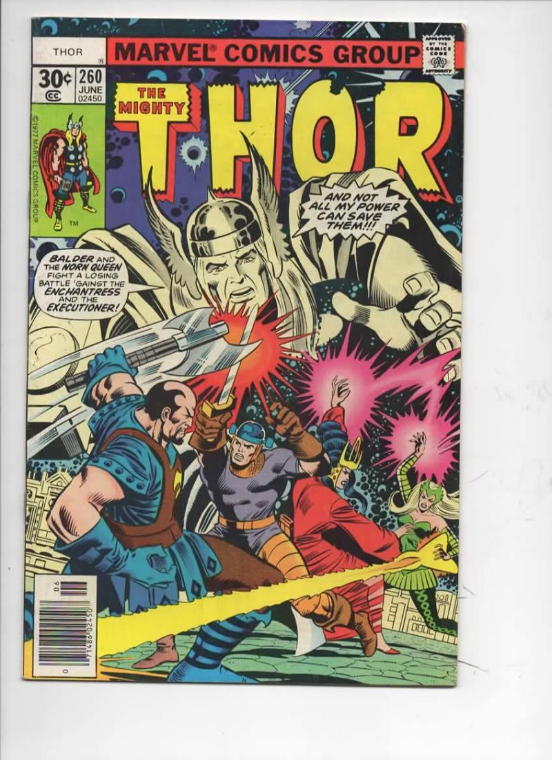 THOR #260 FN+ God of Thunder Enchantress Buscema 1966 1977, more Thor in store