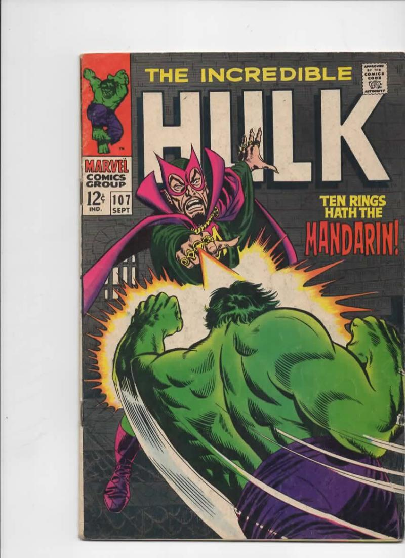 HULK 107, VG+, Bruce Banner, Mandarin, Shield, Giant  Android, Marvel, 1968
