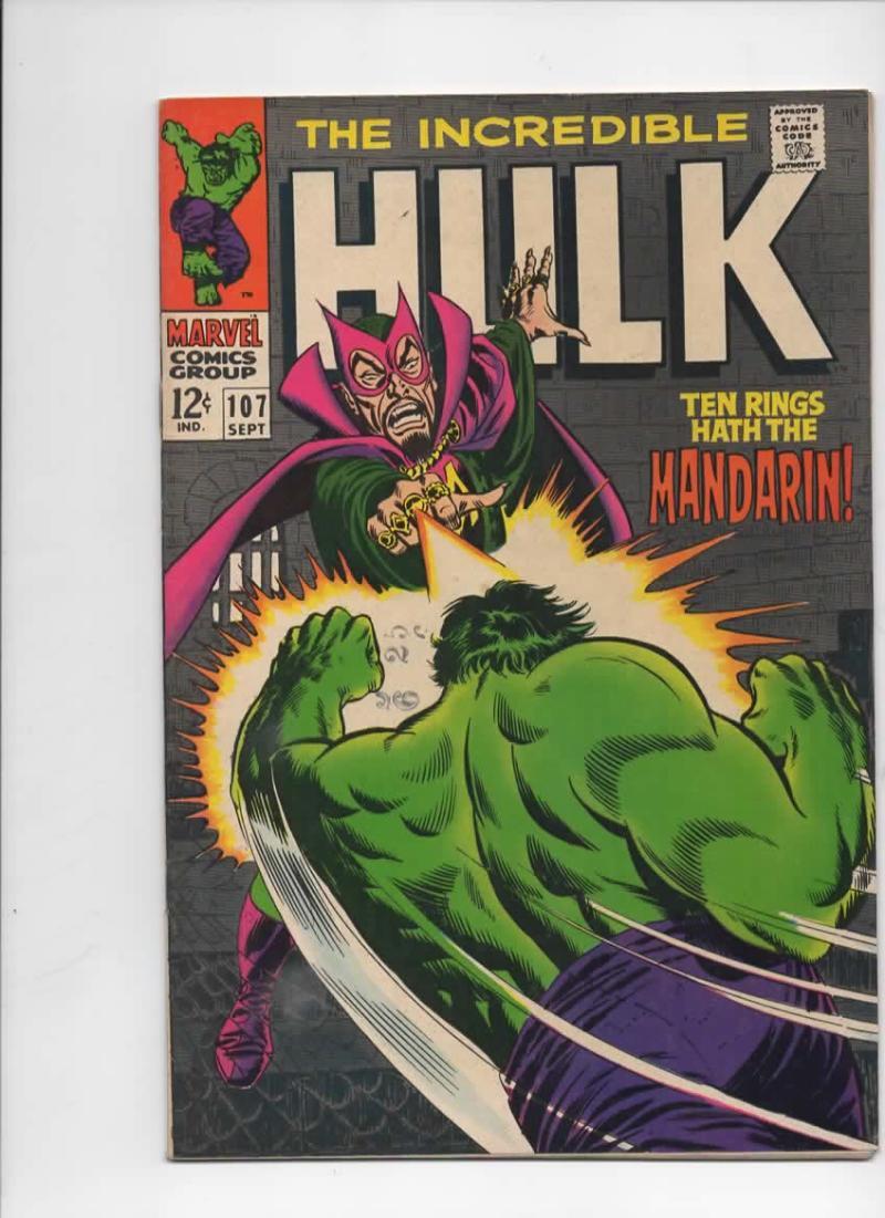 HULK 107, VF, Bruce Banner, Mandarin, Shield, Giant  Android, Marvel, 1968