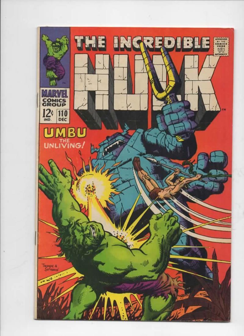 HULK #110, FN, Incredible, Ka-Zar, Severin, Umbu, 1968, more Hulk in store
