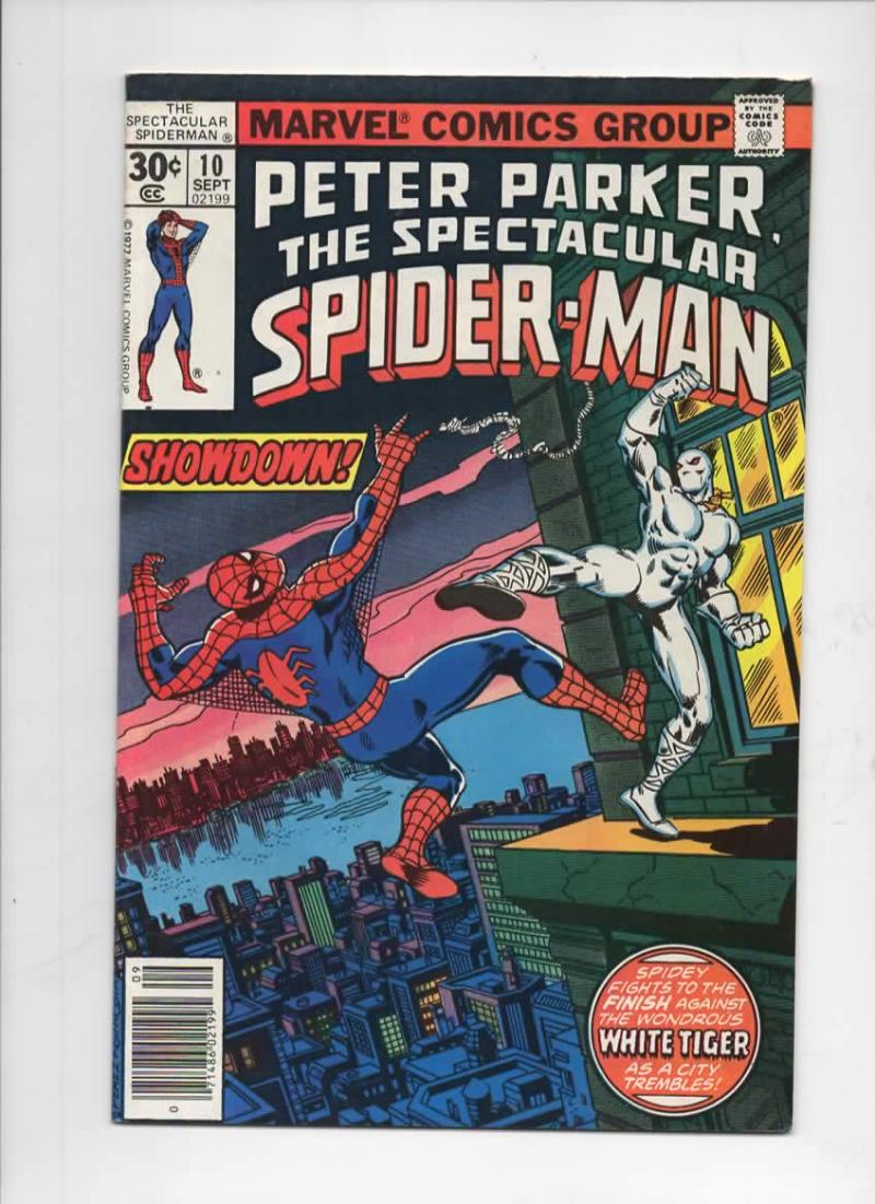 Peter Parker SPECTACULAR SPIDER-MAN #10 VF+, White Tiger 1976 1977 more in store