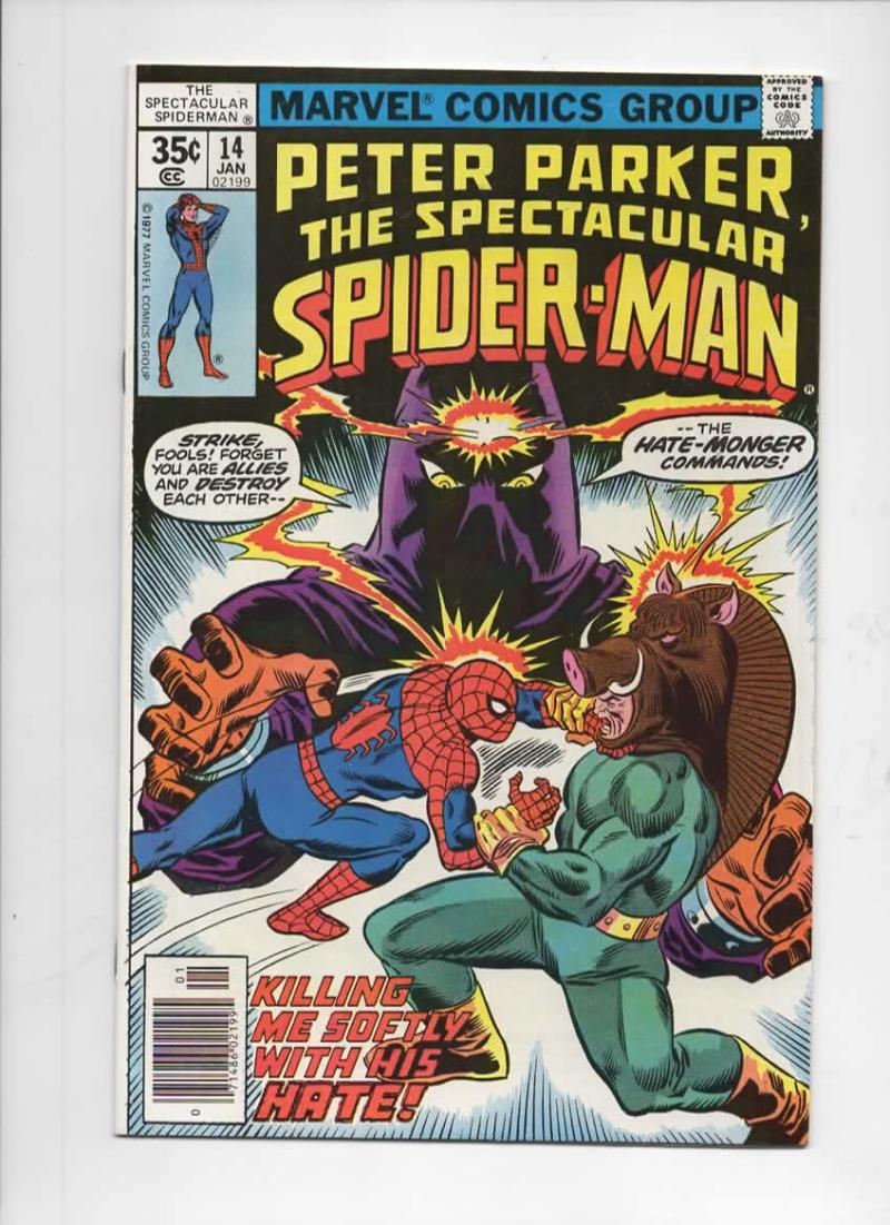 Peter Parker SPECTACULAR SPIDER-MAN #14 VF/NM, Hate Monger 1976 1978 more in store