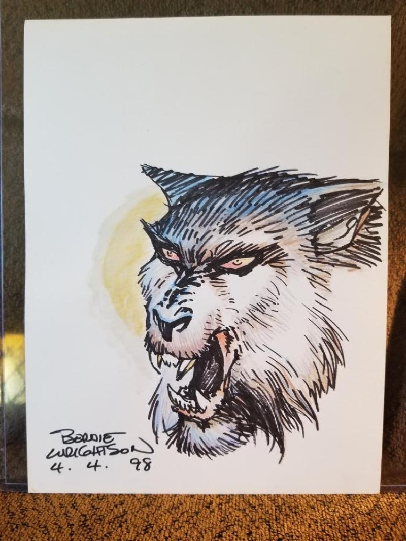 BERNIE WRIGHTSON original art, WereWolf, Wolf, signed dated 1998,  9